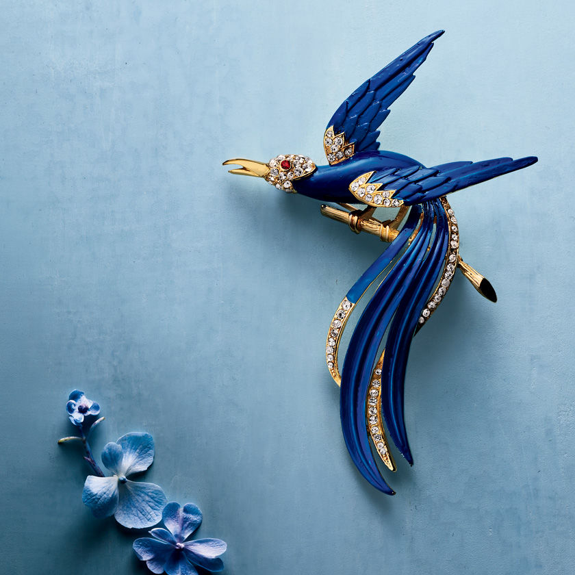 Jeweled bird-shaped pin against a blue background
