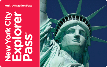 A credit-card sized card; on the left, in white letters on a red ground is the text: New York City Explorer Pass; on the right is a close-up of the Statue of Liberty