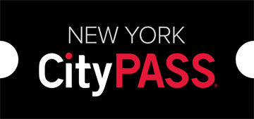 "A black ticket-shaped image the text: ""New York City"" in white and ""Pass"" in dark red"