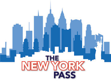 Three rows of the silhouette of the New York City skyline, in light blue, dark blue, and white; at the bottom is the text: The New York Pass