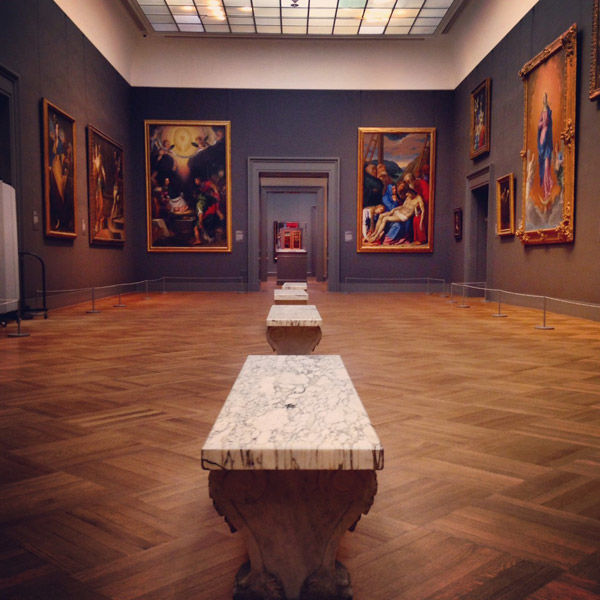 Marble benches in a row in a European Paintings gallery