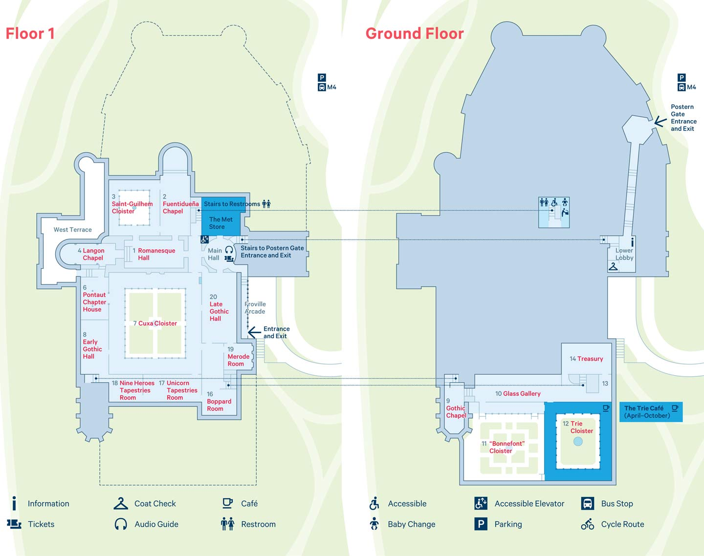 Map of The Met Cloisters | Floor 1 and Ground Floor