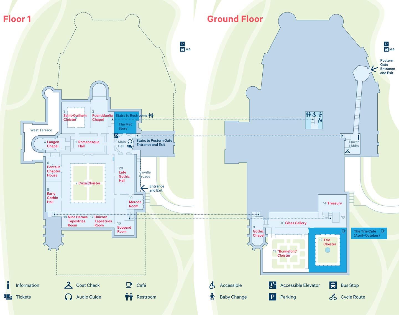 Map Of The Met Cloisters Floor 1 And Ground Floor