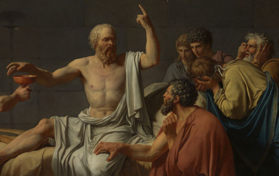 "Detail view of Jacques Louis David's painting ""The Death of Socrates"" showing Socrates surrounded by a group of his followers"
