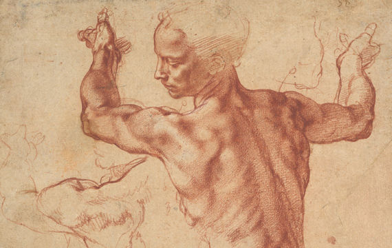 A study drawing for the Libyan Sibyl by Michelangelo