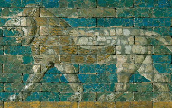 Detail view of a neo-Babylonian panel depicting a striding lion