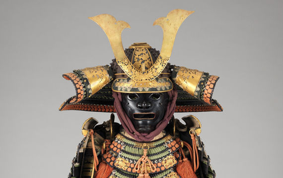 Detail view of a Japanese suit of armor from the 18th-19th century