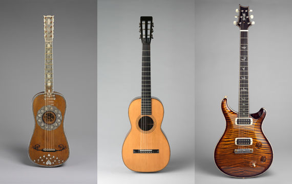 Composite image of three guitars against grey backgrounds