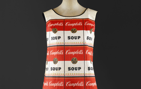 Detail view of a dress designed with Campbell's soup labels