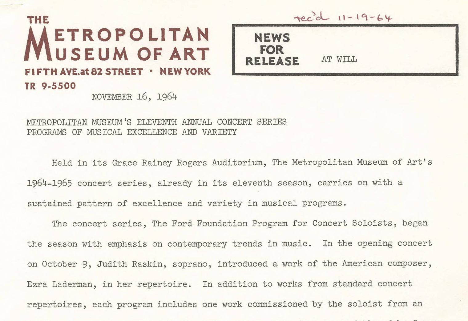 24814f53aa7e Metropolitan Museum of Art Press Kits and Press Releases
