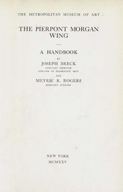 Handbook Of The Pierpont Morgan Wing Metpublications The Metropolitan Museum Of Art