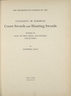 Catalogue of European Court Swords and Hunting Swords