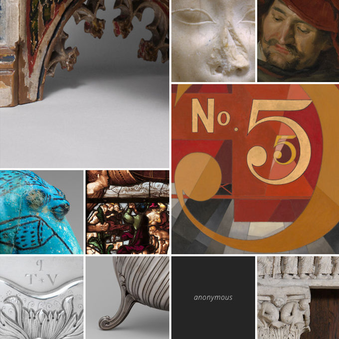 A collage of close-up images of art objects in The Met's collection