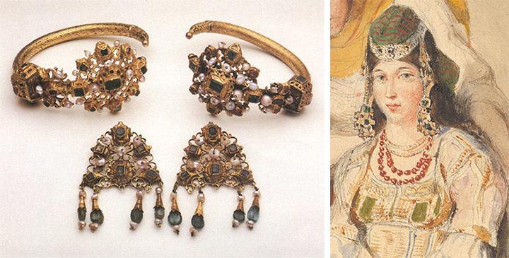 Izquierda: adornos dorados en la cabeza. DERECHO: Acuarela de Delacroix de mujer con adornos en la cabeza