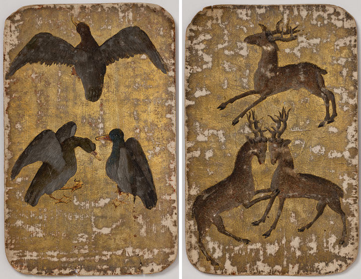 Left: 3 of Ducks, from The Stuttgart Playing Cards, ca. 1430. Made in Upper Rhineland, Germany. Paper (six layers in pasteboard) with gold ground and opaque paint over pen and ink; 7 1/2 x 4 3/4 in. (19.1 x 12.1 cm). Landesmuseum Württemberg, Stuttgart. Right: On this card, the etched lines had raised forelegs, but the painter chose to lower them. 3 of Stags, from The Stuttgart Playing Cards, ca. 1430. Made in Upper Rhineland, Germany. Paper (six layers in pasteboard) with gold ground and opaque paint over pen and ink; 7 1/2 x 4 3/4 in. (19.1 x 12.1 cm). Landesmuseum Württemberg, Stuttgart