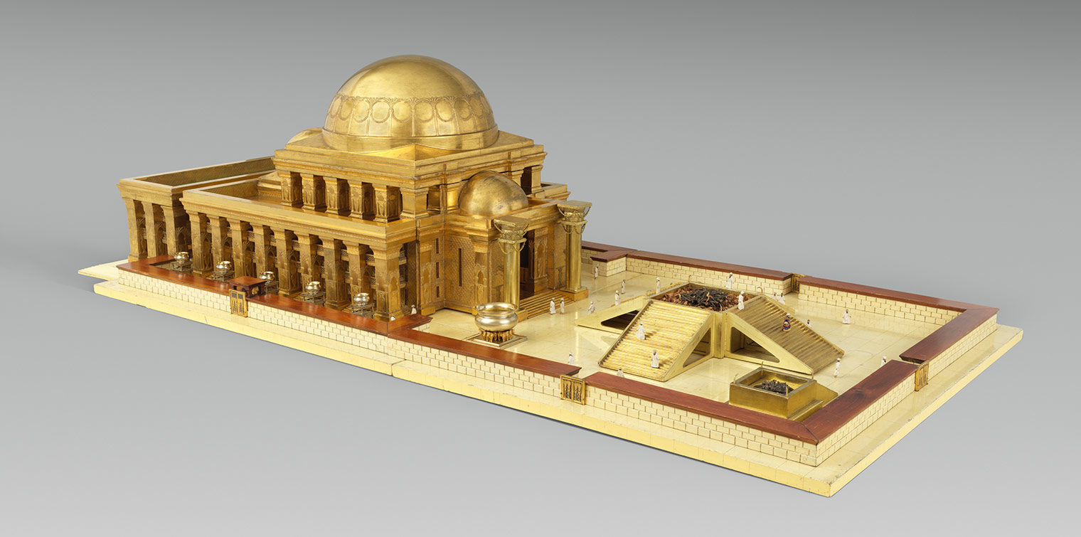 An architectural model of a gold temple