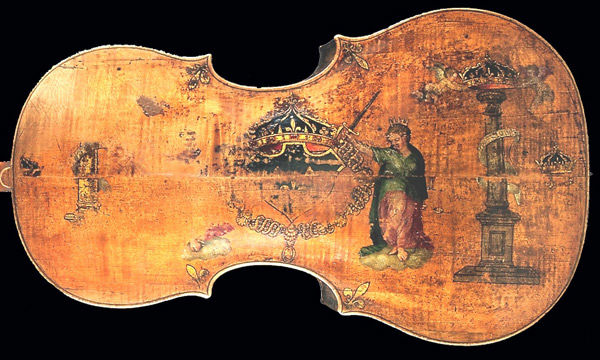 "Fig. 1. Andrea Amati (Italian, ca. 1505–1578). Violoncello, ""The King"" (detail), mid-16th century. National Music Museum, Vermillion, South Dakota, Witten-Rawlins Collection, 1984 (NMM 3351)"
