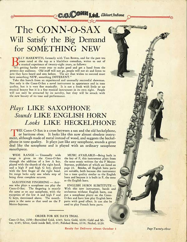 Innovative Middlemen: The Conn-O-Sax and Other Rare Saxophone Voices