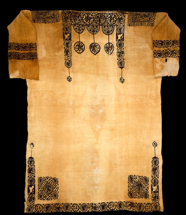 Tunic with Dionysian ornament, probably 5th century. Egypt, Akhmim (former Panopolis). Coptic. Linen, wool; plain weave, tapestry weave; L. 72 1/16 in. (183 cm) W. 53 1/8 in. (135 cm). The Metropolitan Museum of Art, New York, Gift of Edward S. Harkness, 1926 (26.9.8)