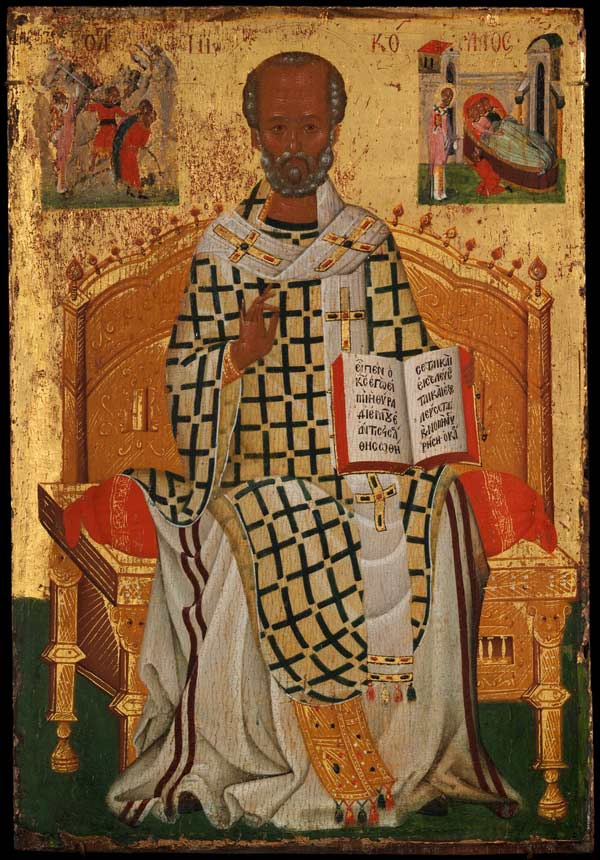 Saint Nicholas, from four icons from a pair of doors (panels), possibly part of a polyptych, early 15th century. Made in Crete? Byzantine. Tempera and gold on wood; 10 13/16 × 7 3/8 x 5/16 in. (27.4 x 18.8 × 0.8 cm). The Metropolitan Museum of Art, New York, Purchase, Mary and Michael Jaharis Gift, 2013 (2013.980d)