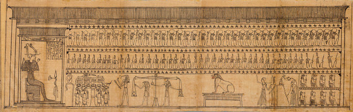 Osiris Far Left Presides Over The Judgment Scene Which Determines Whether Imhotep Pictured Twice On Right Once Having Water Poured Him And