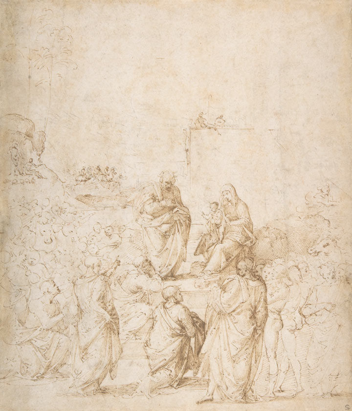 Pen and brown-ink drawing from the Italian Renaissance depicting the Adoration of the Magi