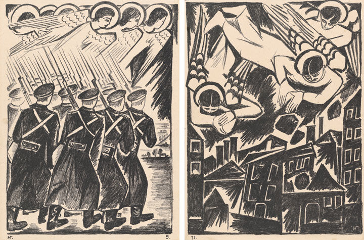 Two works by Natalia Goncharova. On the left, 'Christian Host,' showing a troop of soldiers being led by angels in the sky; on the right, 'Doomed City,' showing a group of angels hurling boulders on a city