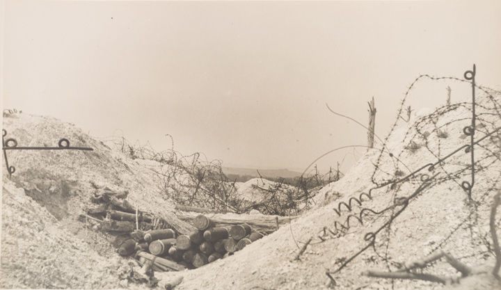 Photo by Margaret Hall of a French battlefield marked with barbed wire and trenches