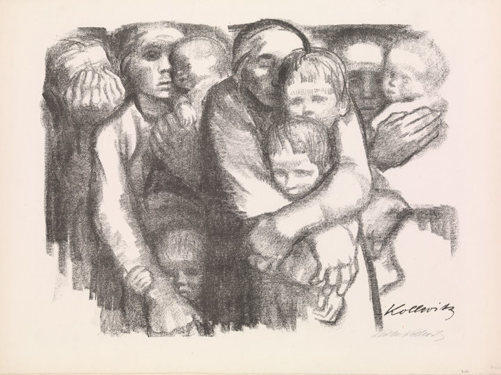 Käthe Kollwitz's 'Mothers (Mütter)' showing a group of women holding babies and small children