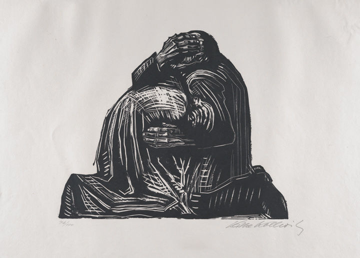 Käthe Kollwitz's 'The Parents (Die Eltern)' showing two parents huddled together in grief