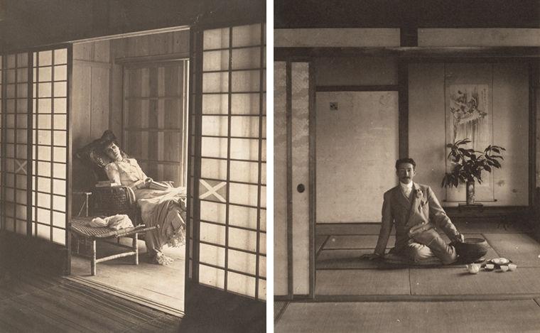 Left: Adolf de Meyer. Olga de Meyer, Japan, 1900. Platinum print. Right: Adolf de Meyer Self-portrait, Adolf de Meyer in Japanese House, 1900.