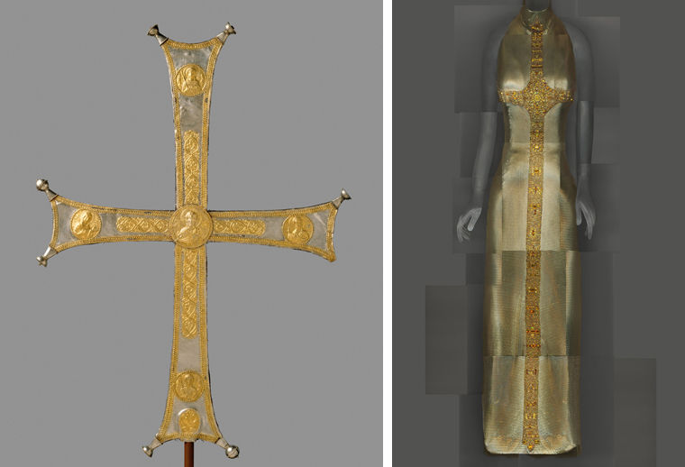 A Byzantine processional cross at left, and a Gianni Versace evening dress with a cross design at right