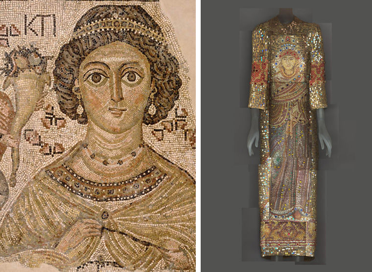 Fragment of a Byzantine floor mosaic displaying a woman's face at left, and a Dolce & Gabbana ensemble featuring a religious mosaic design at right