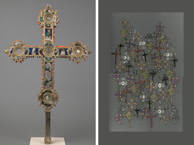 A Renaissance Italian reliquary cross at left, and a Karl Lagerfeld gilet composed of intricate cross designs at right