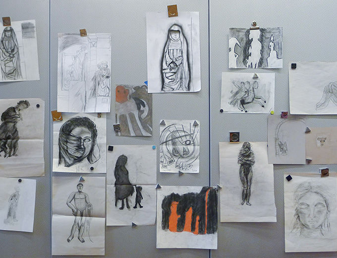 Magnet board with sketches of museum objects by teenagers