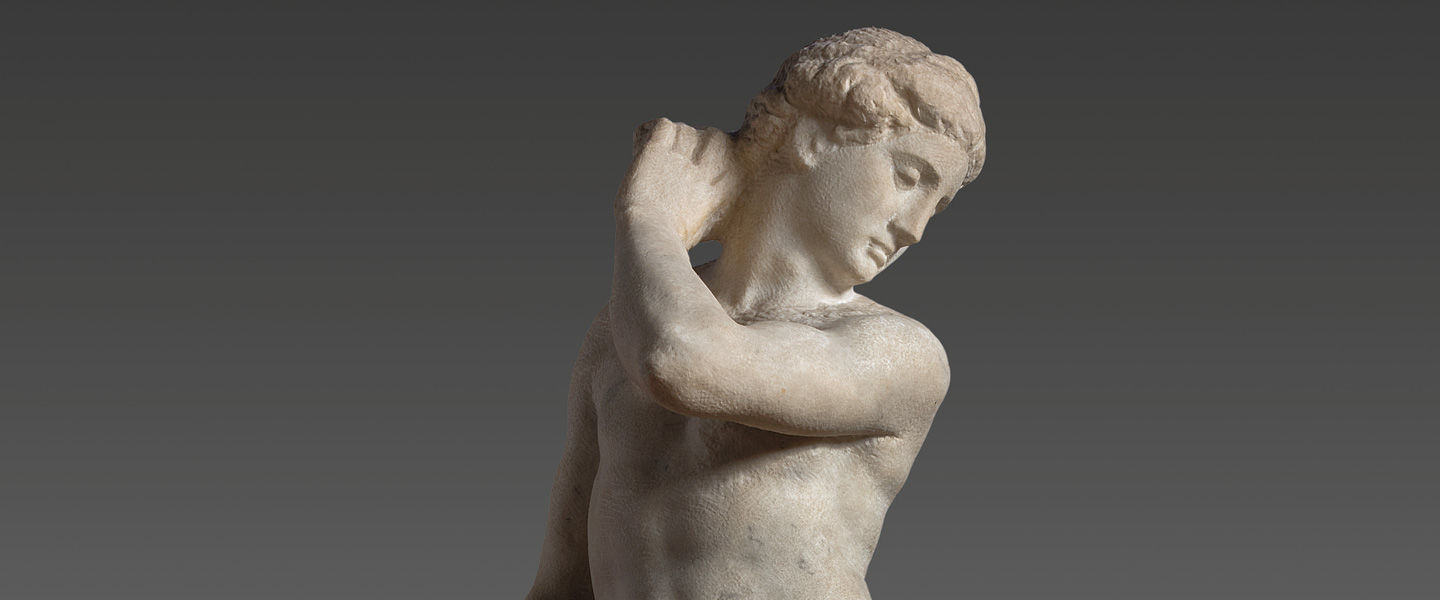 Detail view of Michelangelo's marble sculpture Apollo-David
