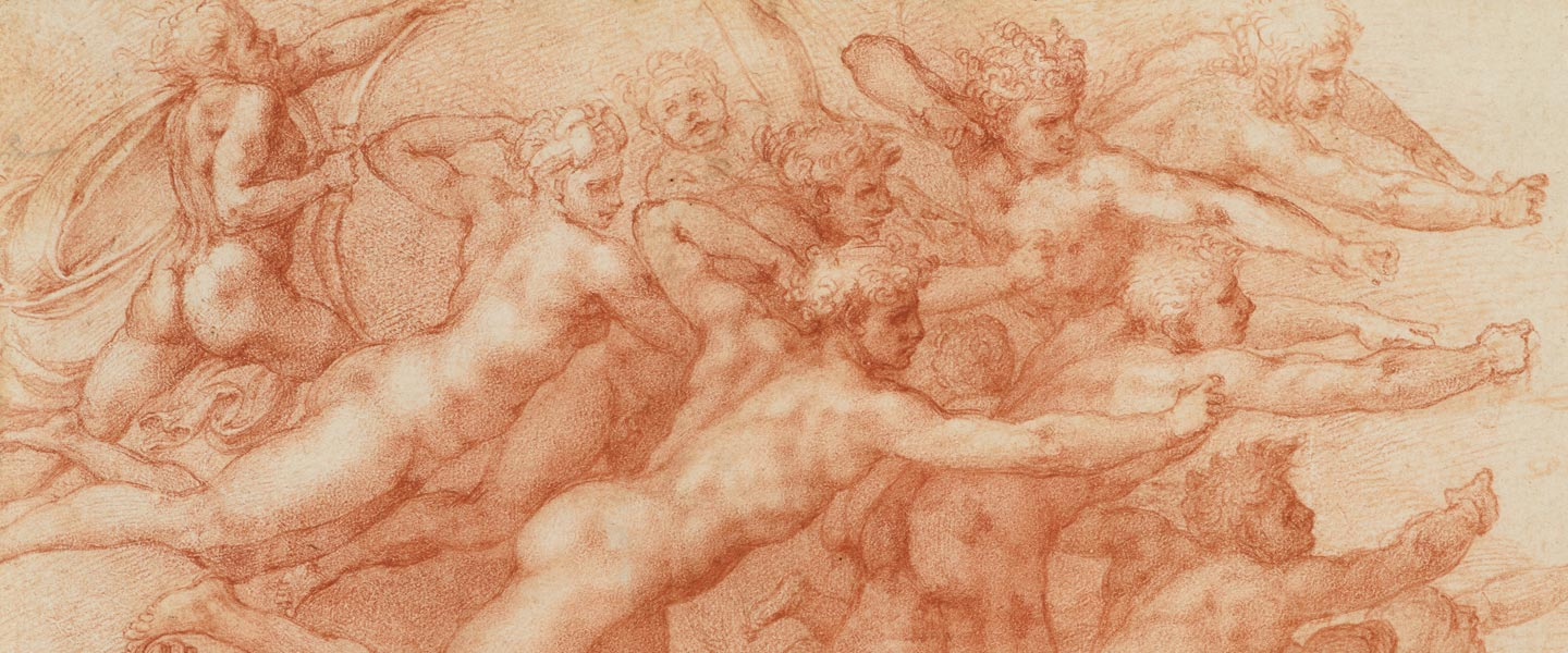Detail of a red chalk drawing by Michelangelo depicting a crowd of nude archers