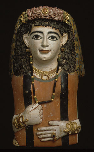 Mummy mask of a woman with a jeweled garland