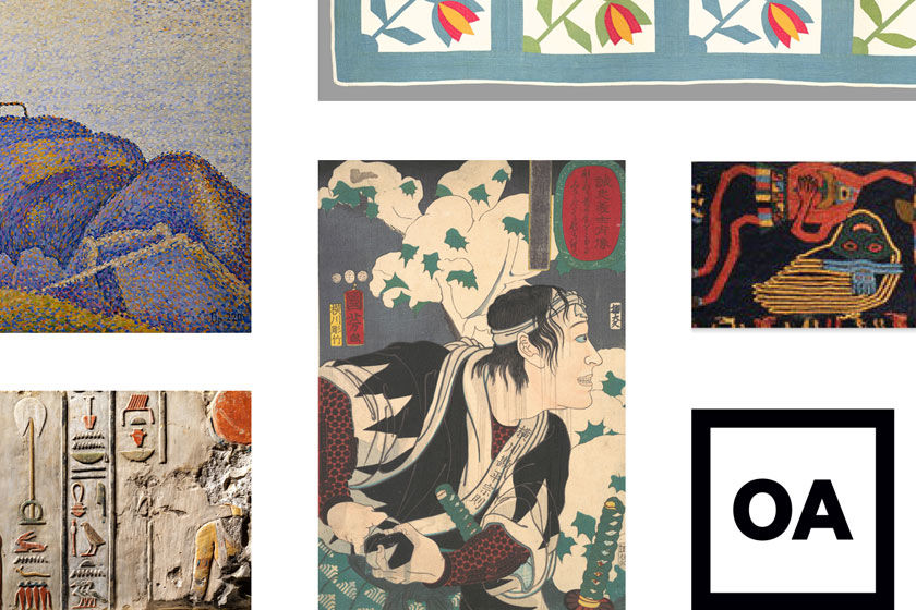 A collage of various public-domain works of art in The Met collection