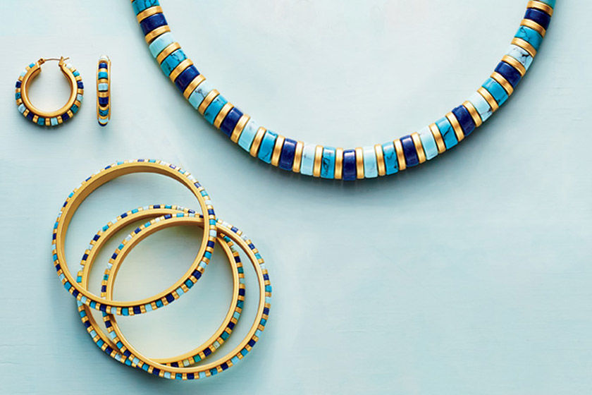 Bracelets, a necklace, and earrings inspired by The Met collection