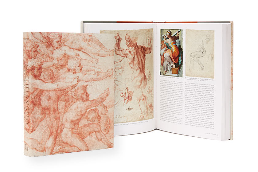 Page spread of an exhibition catalogue of Michelangelo's work
