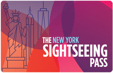 The New York Sightseeing Pass | Colorful image with line drawings of the Statue of Liberty, the Empire State Building, and the Freedom Tower