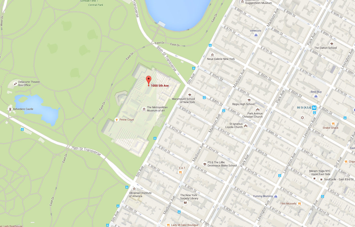 Map indicating The Met Fifth Avenue with a red pin