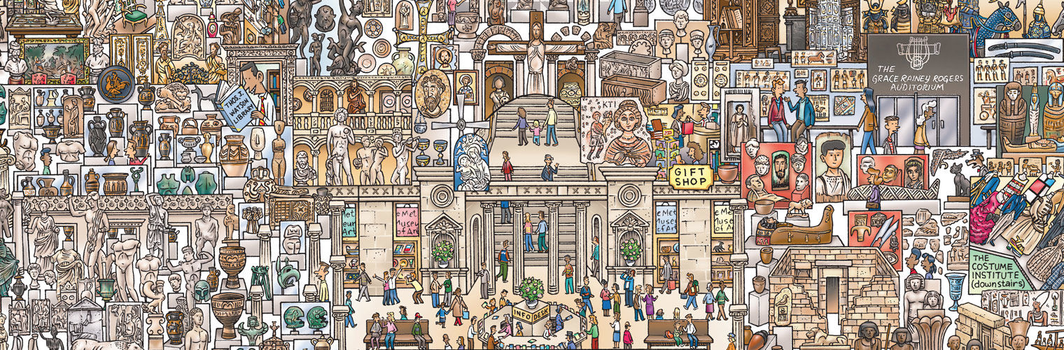 An elaborate illustration of The Met Fifth Avenue's galleries and artworks presented in a way that is accessible for kids, MetKids, and families