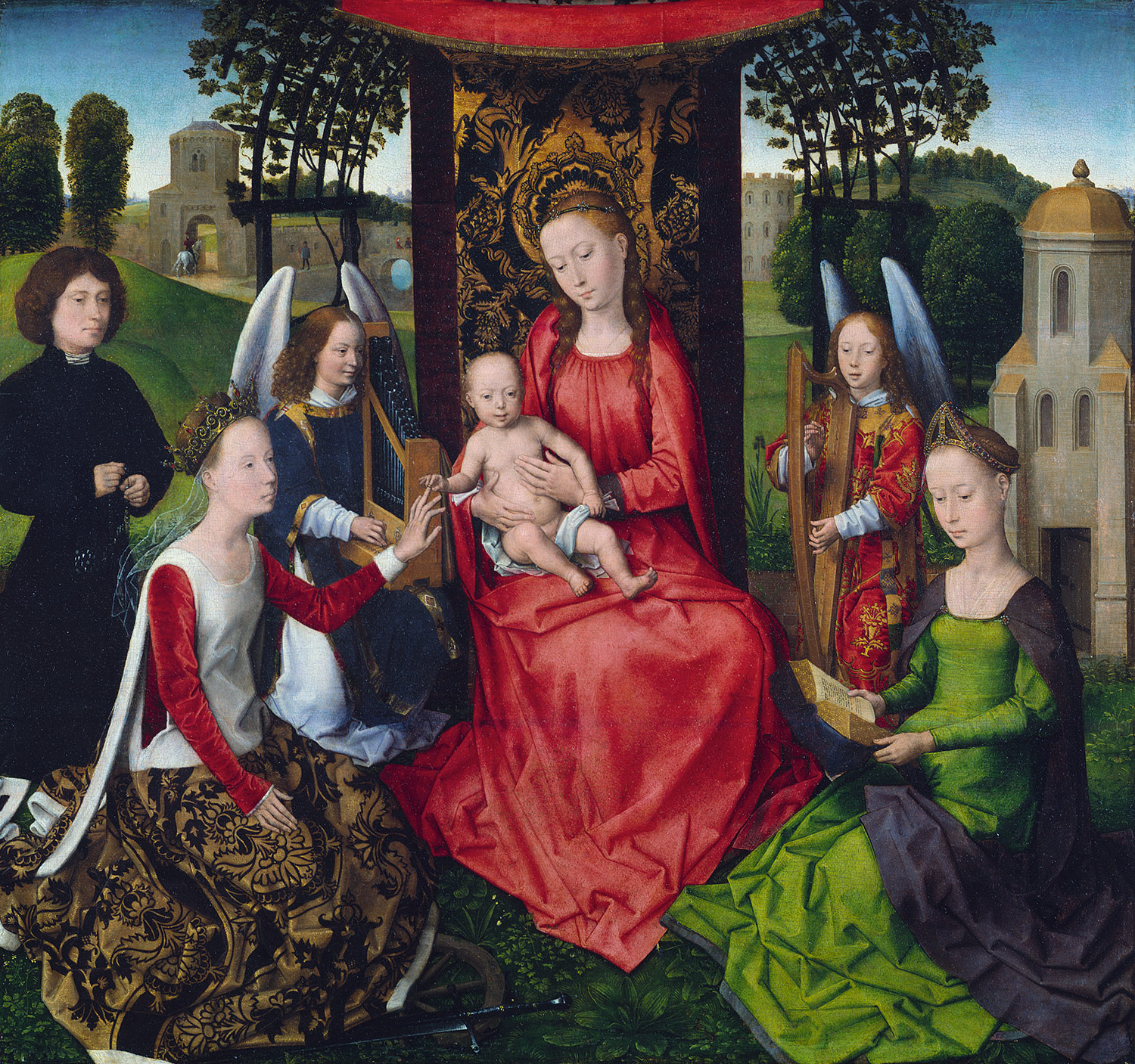 Virgin and Child with Saints Catherine of Alexandria and Barbara, by Hans Memling, 1479