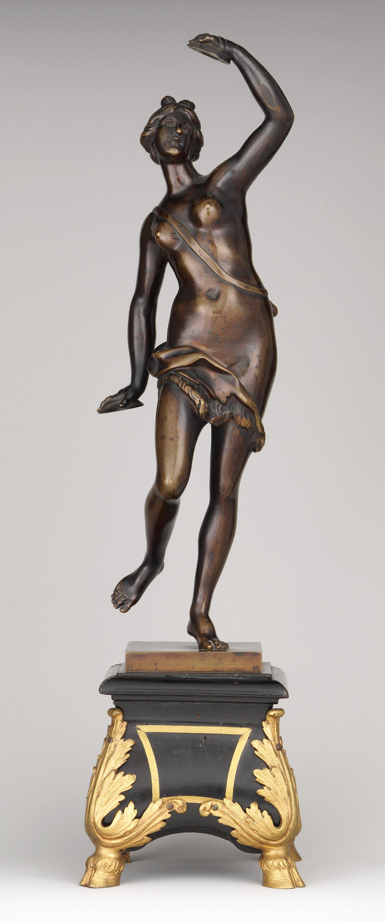 Bronze, mounted on base of ebony ...