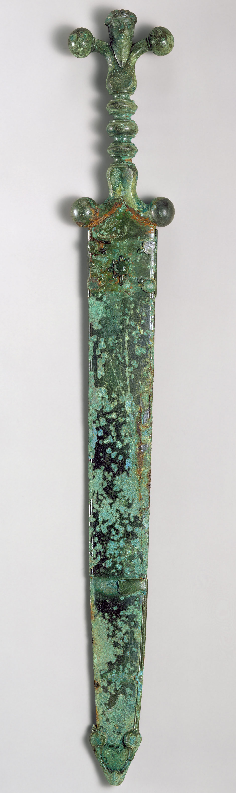 Sword, mid-1st century B.C.; Late Iron Age; Iron blade, copper alloy hilt and scabbard