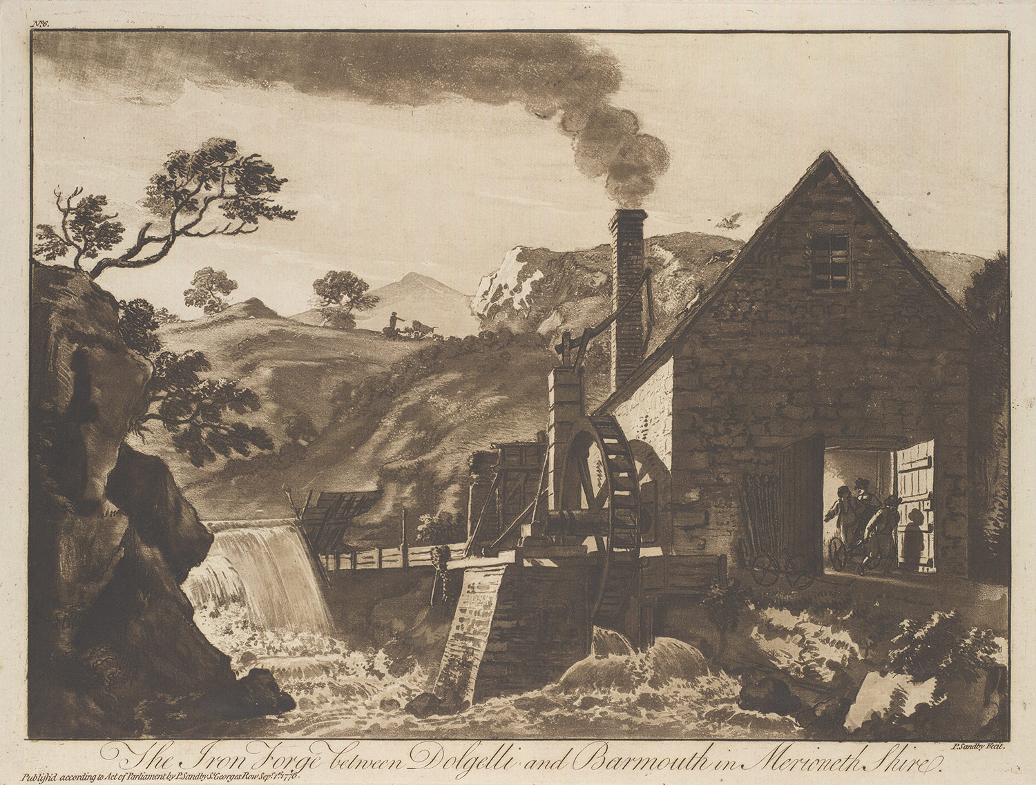 aquatint, The Iron Forge between Dolgelli and Barmouth in Merioneth Shire: Plate 6 of XII Views in North Wales