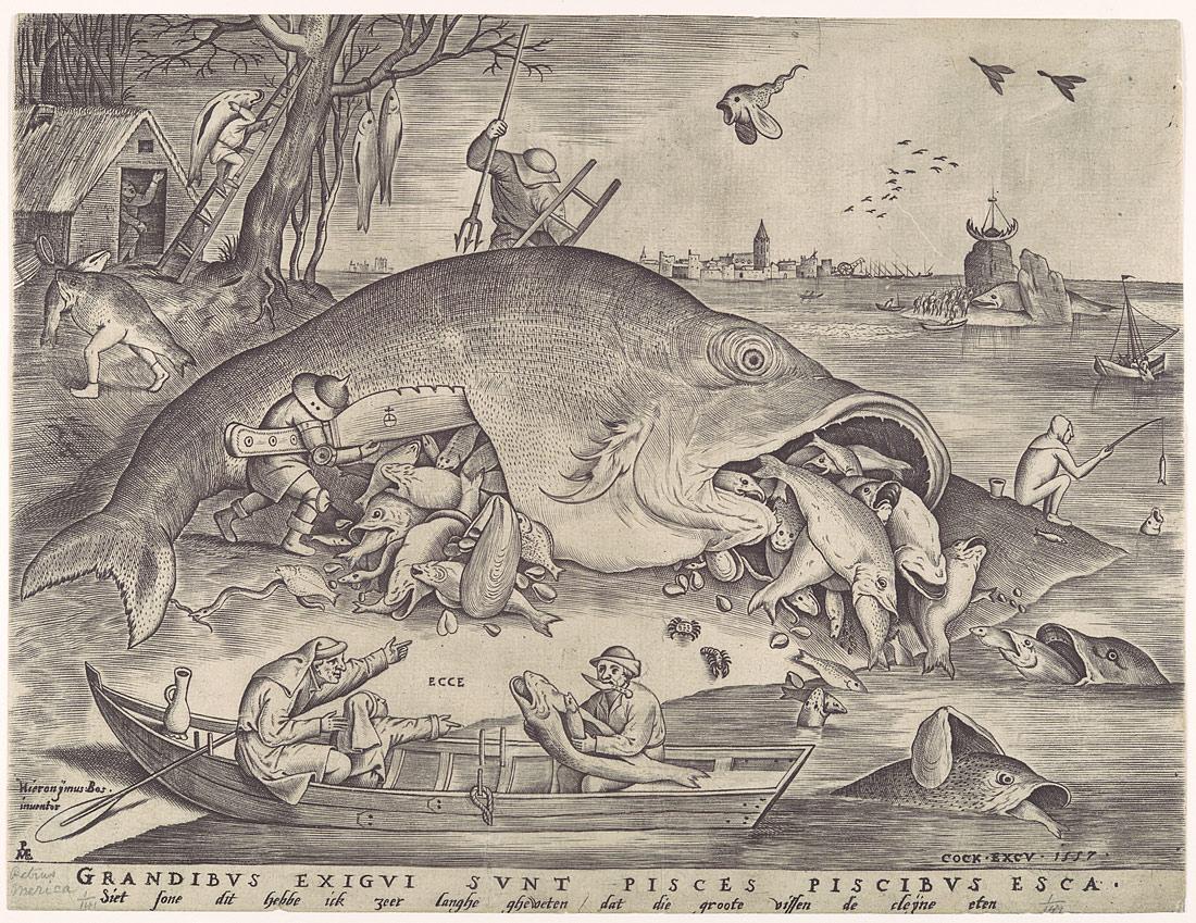 Big fish eat little fish pieter van der heyden pieter bruegel the elder hieronymus cock 17 3 859 work of art heilbrunn timeline of art history