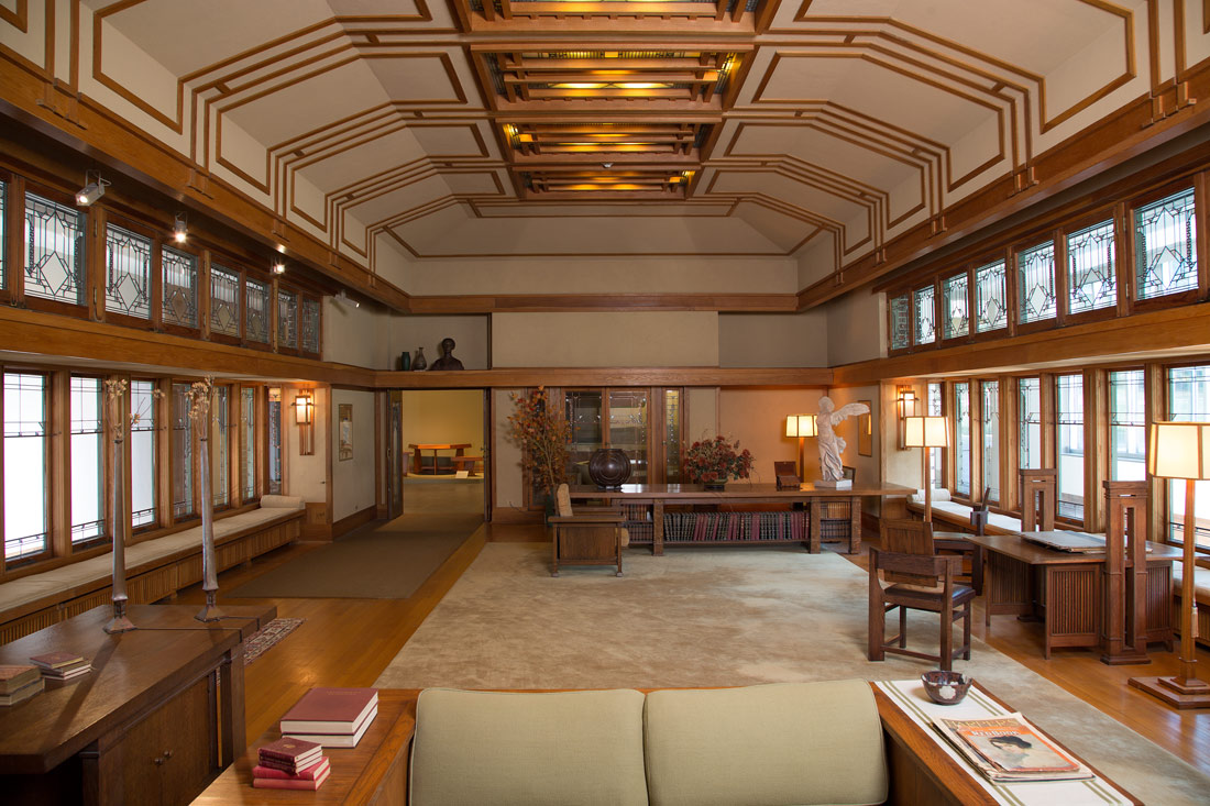 Living Room From The Francis W Little House Windows And Paneling Frank Lloyd Wright 1972 60 1 Work Of Art Heilbrunn Timeline History